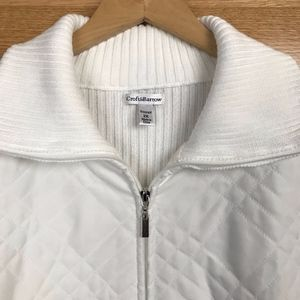 Croft and Barrow Quilted White Zip-up Sweater